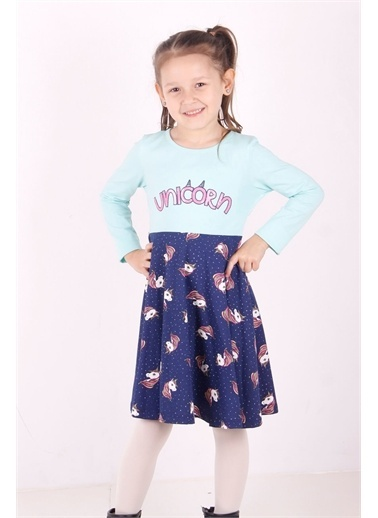 Toontoy Kids Toontoy Kız Çocuk Baskılı Elbise Renkli